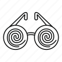 confusion, disorient, eyeglasses, chaos, hypnosis, fashion, old icon