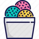 chocolate chip, cup, frozen, ice cream, scoop, summer, sweet icon