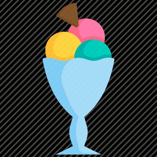 dessert, frozen, ice cream, scoop, summer, sweet, waffle icon