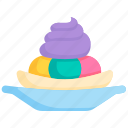 banana, creme, frozen, ice cream, scoop, summer, sweet icon