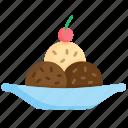 chocolate chip, dessert, frozen, ice cream, scoop, summer, sweet icon