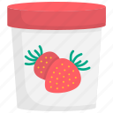 cup, frozen, ice cream, scoop, strawberry, summer, sweet icon