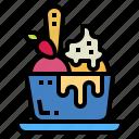 cup, dessert, ice cream, spoon, sweet