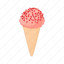 cartoon, cold, cone, cream, dessert, strawberry, sweet icon