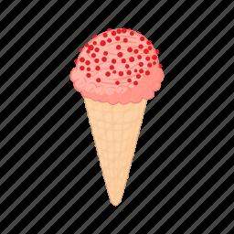 cartoon, cold, cone, cream, dessert, strawberry, sweet icon