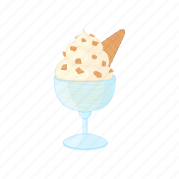 bowl, cartoon, cold, cream, dessert, ice, sweet icon
