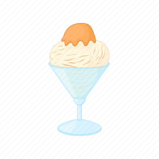 bowl, caramel, cartoon, cream, dessert, sweet, white icon