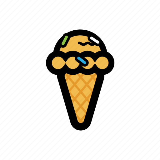cone, cream, funfetti, ice icon
