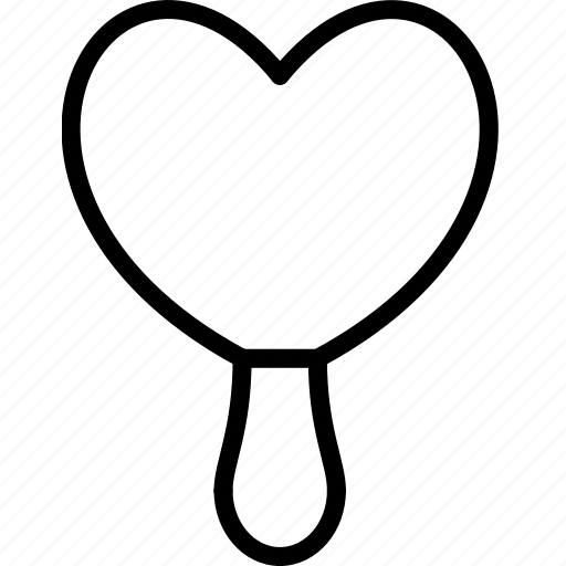 heart, ice, lolly, outline, shaped icon