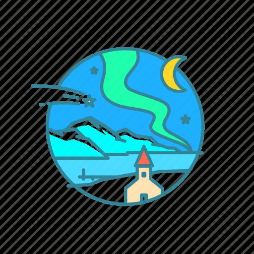 aurora borealis, ice, iceland, moon, northern lights, snow icon