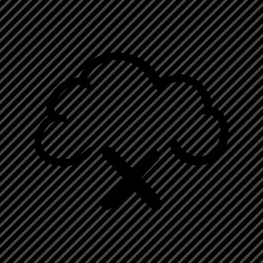 cancel, cloud, cloud delete, cloud disconnection, disconnected network, icloud, icloud cancel icon