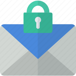 communication, envelope, lock, mail, packet, secure icon