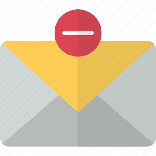 envelope, inbox, mail, minus, packet, remove icon