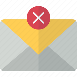 cancel, delete, envelope, mail, packet, remove icon