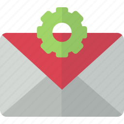 configuration, email, envelope, gear, mail, packet, setting icon