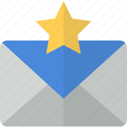 communication, email, envelope, favorite, mail, packet, star icon