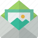 email, envelope, mail, packet, photo, picture icon