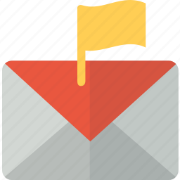 email, envelope, flag, mail, packet icon