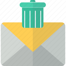 bin, delete, envelope, mail, packet, recycle, trash icon