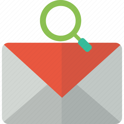 envelope, find, magnifying, mail, packet, search icon