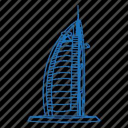 architecture, building, burj al arab, dubai, hotel, iconic, united arab emirates icon