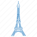 eiffel, france, iconic, monument, paris, tower icon