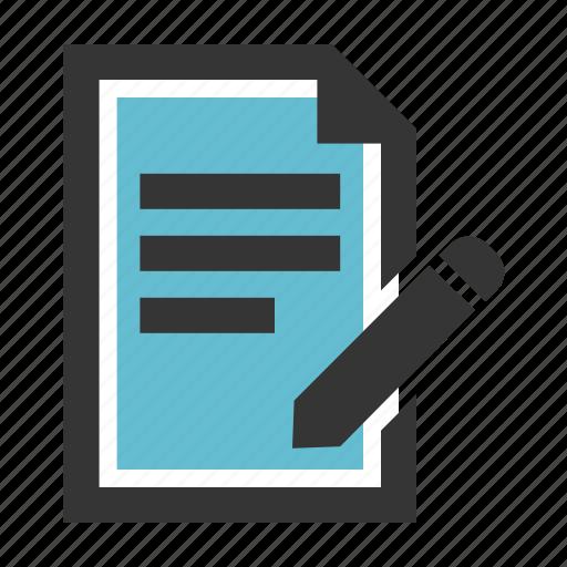education, examp, notes, quiz, school, test, write icon