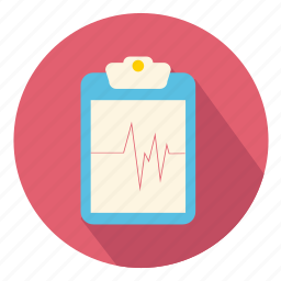 clipboard, ecg, medical, notes, paper, record, report icon