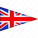 country, flag, great britain, national, pennant, triangle