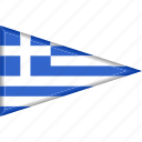 country, flag, greece, national, pennant, triangle