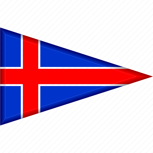 country, flag, iceland, national, pennant, triangle icon