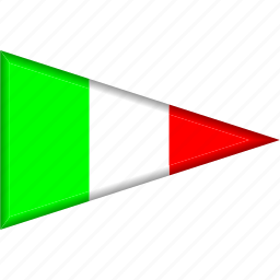 country, flag, italy, national, pennant, triangle icon