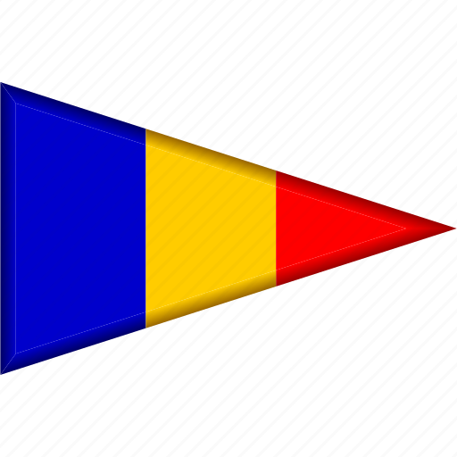 country, flag, national, pennant, romania, triangle icon