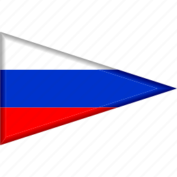 country, flag, national, pennant, russia, triangle icon
