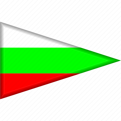 bulgaria, country, flag, national, pennant, triangle icon