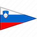 country, flag, national, pennant, slovenia, triangle