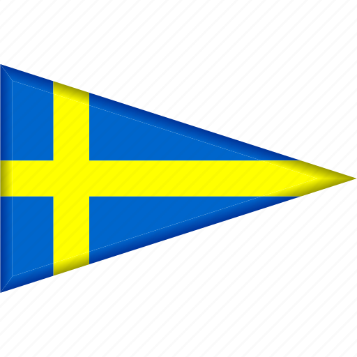 country, flag, national, pennant, sweden, triangle icon