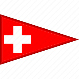 country, flag, national, pennant, switzerland, triangle icon