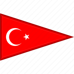 country, flag, national, pennant, triangle, turkey icon