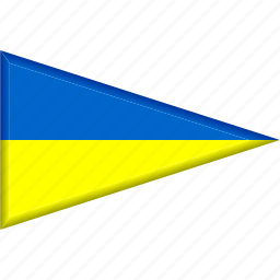 country, flag, national, pennant, triangle, ukraine icon
