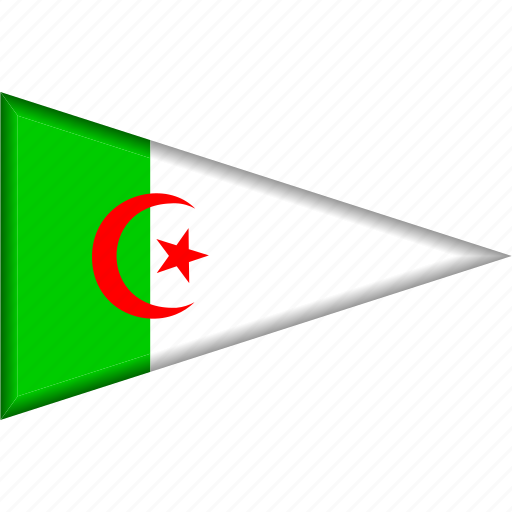 algeria, country, flag, national, pennant, triangle icon