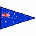 australia, country, flag, national, pennant, triangle icon