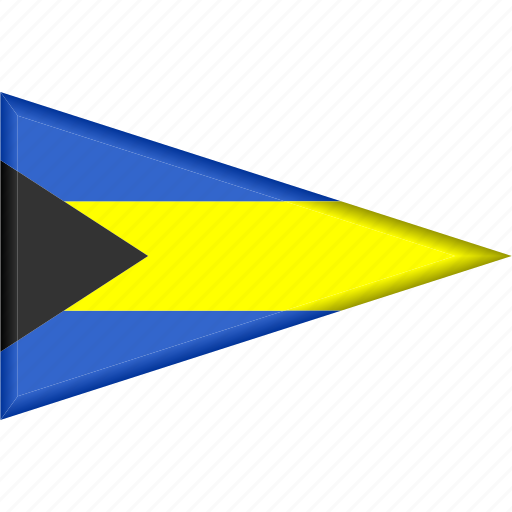 bahamas, country, flag, national, pennant, triangle icon