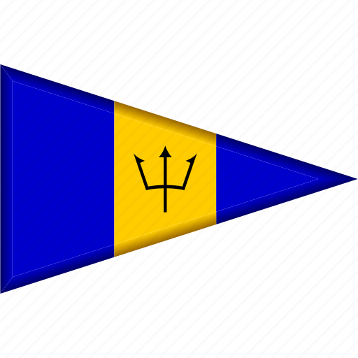 barbados, country, flag, national, pennant, triangle icon