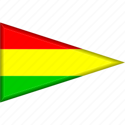 bolivia, country, flag, national, pennant, triangle icon