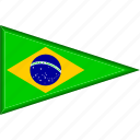 brazil, country, flag, national, pennant, triangle
