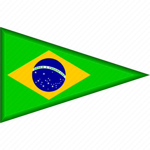 brazil, country, flag, national, pennant, triangle icon