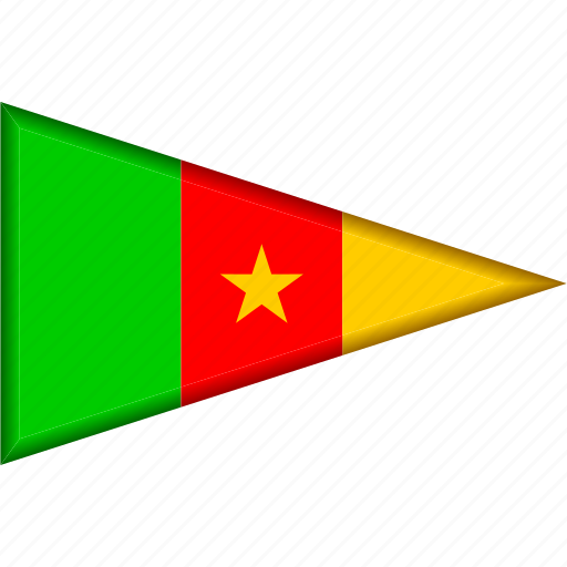 cameroon, country, flag, national, pennant, triangle icon