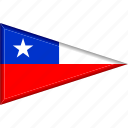 chile, country, flag, national, pennant, triangle