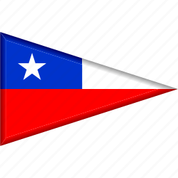 chile, country, flag, national, pennant, triangle icon